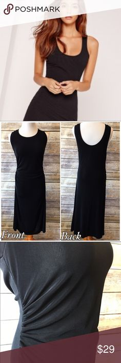 "Boston Proper Black Midi Dress Boston Proper Black Midi Dress. Size medium. Very stretchy material. Made of 95/5 acetate - spandex. Measures from pit to pit 17""/ length 45"". Pic 1 for style inspiration purposes Boston Proper Dresses Midi"