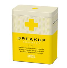 Breakup Recovery Kit    Offer a friend - or yourself - maximum relief from the distressing effects of heartache with this Breakup Recovery Kit. Tin box contains: 16 page remedy booklet, silicone bracelet, 5 affirmation cards, 5 healing bandages, recovery certificate, and metal charm.