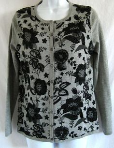 VICTOR COSTA OCCASION Embellished Beaded Floral Print XS S M Sweater Cardigan