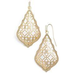 Women's Kendra Scott 'Addie' Drop Earrings ($60) ❤ liked on Polyvore featuring jewelry, earrings, drop earrings, gold, kendra scott, etched jewelry, kendra scott earrings and earring jewelry