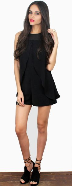 Lovely & Relax Black In Side Romper featuring Outside Cape In Side Black Romper See Thru Black Chiffon Fabric Detail at the Neck Invisible Zipper at the Back & Button at the Back of the Neck Material:Polyester Color: BlackModel is wearing a Small Model Info:Height: 5'9 | Bust: 32 | Waist: 24 | Hip: 35 | Size Guide Product Code: 2445|2446|2447 FIT: This garment fitstrue to size BUST: NotFitted -Great for any cup size WAIST: Not Fitted HIPS: Not Fitted - Room for hips UNDERGARME...