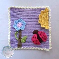 Ladybug and Flower Applique Set & Afghan Block Free Pattern - Contributor Post by Creative Crochet Workshop Crochet Box, Crochet Motif, Crochet Crafts, Crochet Yarn, Crochet Projects, Crochet Throws, Crochet Appliques, Crochet Mandala, Double Crochet