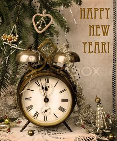 Vintage New Year / http://www.colourbox.com/image/vintage-new-year-with-antique-alarm-clock-image-2978169#