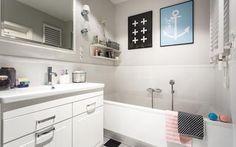 Mała łazienka z szachownicą - projekt w stylu skandynawskim