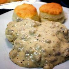 Sausage Gravy   1 (12 ounce) package maple flavored sausage 3 tablespoons butter 1/4 cup all-purpose flour 3 cups whole milk salt and pepper to taste  Place sausage in a large, deep skillet. Cook over medium-high heat until evenly brown. Remove sausage with a slotted spoon, leaving the drippings in the pan. Stir in the butter until melted. Add flour, and stir until smooth. Reduce heat to medium, and cook until light brown. Gradually whisk in milk, and cook until thickened. Season with salt…