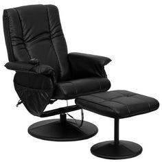 Massaging Black Leather Recliner & Ottoman w/ Leather Wrapped Base - Flash Furniture a relaxing massage in the comfort of your own home or office with this recliner and ottoman set. This set offers maximum massaging power that Recliner With Ottoman, Chair And Ottoman Set, Swivel Recliner, Recliner Chairs, Swivel Glider, Chair Cushions, Sectional Sofas, Black Ottoman, Leather Ottoman