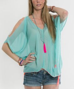 Another great find on #zulily! Turquoise & Pink Cutout Tunic by Z&L #zulilyfinds