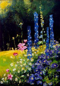 "Saatchi Art Artist Pol Ledent; Painting, ""Cosmos and delphinium"" #art"