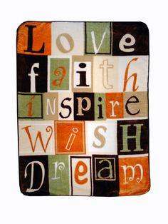 Love Faith Inspire Throw Blanket