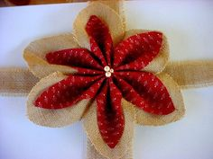 burlap poinsettia | Burlap Poinsettia Christmas Decoration.Ornament.Garland.Bunting ...