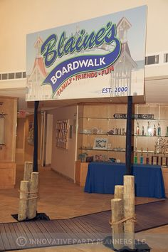 What a cool way for guests to enter Blaine's Bar Mitzvah under the boardwalk sign. Catered by Zeffert and Gold.