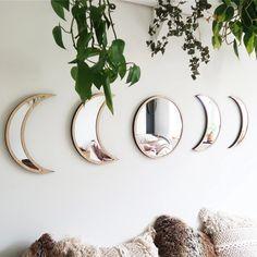 Hotwon Wooden Decorative Mirror Moon Phase Mirror Bedroom Acrylic Mirror