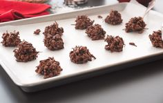 Swap out traditional cookies for these Chocolate Haystack Cookies made with Kashi Honey Puffs cereal. Whole grains and just enough coconut, peanut butter, and chocolate, make a wholesome alternative. #KashiBetterRecipes