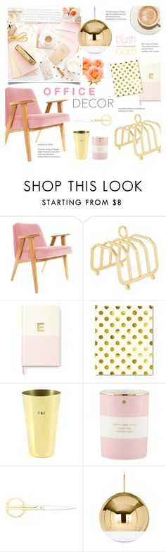 """Blush and Gold Office Decor"" by alexandrazeres on Polyvore featuring interior, interiors, interior design, home, home decor, interior decorating, Sugar Paper, Kate Spade, Fine & Candy and HAY"