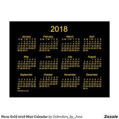 Neon Gold 2018 Mini Calendar Postcard