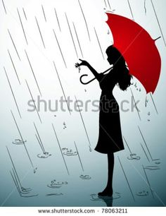 A Silhouette Of Woman With Red Umbrella For My Crayon Art