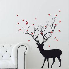 christmas deer with birds wall sticker by snuggledust studios | notonthehighstreet.com