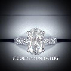 GOLDEN SUN JEWELRY: 3.02ct. Oval cut diamond on a eternity band. Simply beautiful.