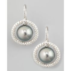Eli Jewels Gray South Sea Pearl & Diamond Halo Earrings (8,212,680 KRW) ❤ liked on Polyvore featuring jewelry, earrings, grey earrings, earrings jewelry, engraved jewelry, filigree earrings and 18 karat gold jewelry
