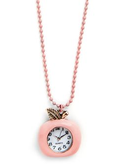 Time for a Bite Necklace. As your tummy starts to rumble, one glance at this fruit-themed clock pendant around your neck tells you its time for your mid-morning snack! #pinkNaN