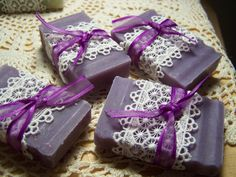 Wedding favors soaps -  lilac, shea butter, organic, handmade. via Etsy.