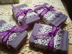 Wedding favors soaps -  lilac, shea butter, organic, handmade. via Etsy.