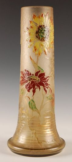 GALLE' 17-INCH FRENCH CAMEO GLASS VASE WITH ENAMEL