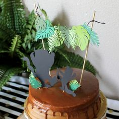 where the wild things are jungle party theme leaf cake topper $15
