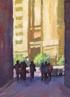CITY STREET SCENE, TOM BROWN PLEIN AIR PAINTING, painting by artist Tom Brown