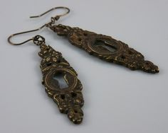Hardware jewelry  dangle earrings ornate by TheShinyCrowsNest, $55.00