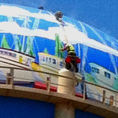 Paul Brent - Putting the final touches on the water tower.  www.paulbrent.com