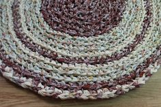 Browns and Yellows Round Handmade Crochet Rag Rug by EsteraP, $44.00