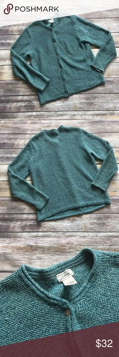 "L.L.Bean Green Button Down Sweater LL Bean Green Button Down sweater Cardigan. Made of 100% cotton. Beautiful colors and perfect to pair with pants or jeans. Measures from pit to pit 19""/ Length 24.5"". L.L. Bean Sweaters"