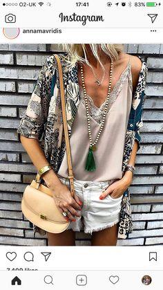 Ideas For Sport Style Casual Fashion Look Hippie Chic, Look Boho, Boho Chic, Spring Summer Fashion, Spring Outfits, Moda Zara, Feminine Mode, Look Con Short, Look Fashion