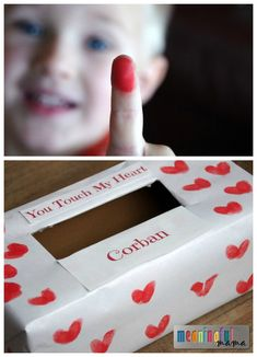 Valentine Mailbox for Kids; I love the idea of the fingers for hearts!❤️