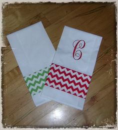 Chevron Decorative Kitchen Tea Towels Embroidered by HeartTugzs