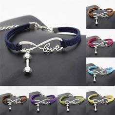 Cheap jewelry jar, Buy Quality jewelry machine directly from China bracelet free Suppliers: Fashion Stylish Antique Silver Small Barbell Dumbbell Charms Pendant Infinity Love Fitness Lover Gift Jewelry Leather Bracelets