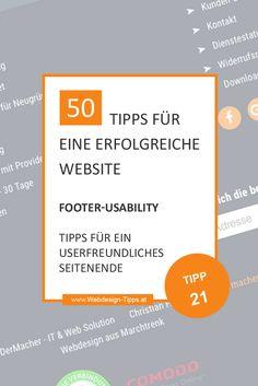 Footer-Usability, ist das wirklich wichtig? Ja! Wenn auch du den Footer nicht mehr vernachlässigen und alle Chancen, die er mit sich bringt, einsetzen willst, dann musst du diesen Beitrag unbedingt lesen. Du erfährst, was der Zweck eines Footers ist, was dieser alles enthalten muss und welche Inhalte nützlich sind und welche nicht.  #webdesigntipps #webdesign #footer #footerusability #footeroptimieren #footerseo #seo Web Design, Freundlich, Website, Word Reading, Tips, Design Web, Site Design, Website Designs