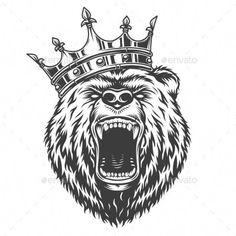 Buy Vintage Logo Style Bear by imogi on GraphicRiver. Vintage logo style bear with crow. King Tattoos, Head Tattoos, Sleeve Tattoos, Ship Tattoos, Ankle Tattoos, Arrow Tattoos, Grizzly Bear Tattoos, Tattoo Minimaliste, Brust Tattoo
