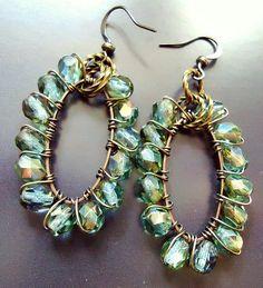 Green Earrings Beaded Hoops Wire Wrapped in Copper Gypsy Style - Bohemia Jewelry