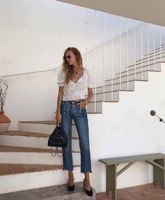 H&M Airy Blouse with Smocking Summer Looks, Smocking, Mom Jeans, Normcore, Instagram, Pants, Outfits, Tops, Style