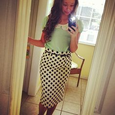 Polka dot skirt with mint shirt and lace collar