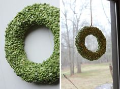 Simple, inexpensive wreath made with split peas! Something similar with black eyed peas would make a fantastic wreath for the New Year! #wreath | From Katie at Little Things Bring Smiles