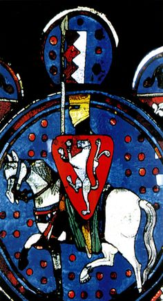 "Stained glass of Chartres cathedral representing Amaury de Montfort, around 1220. Photo by F. de Lannoy, J. Labrot ""The Albigensian Crusade"", Middle Ages, No 30, September-October 2002."
