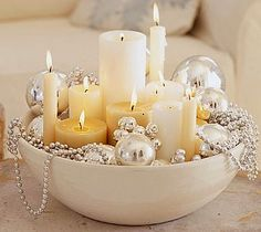How simple, going to do this with a big pink Fiesta bowl and vintage ornaments & beads.