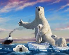 Some people take the global warming lightly and come up with such polar bears portrayal but IT IS NOT A JOKE.they need our help. Baby Animals, Cute Animals, Save The Arctic, Save Our Earth, Digital Art Gallery, School Bags For Kids, Endangered Species, Global Warming, Climate Change