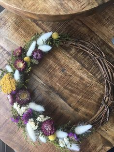 Home decor. Grapevine wreath with bunny tails, yarrow, billy buttons, strawflowers