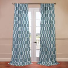 Half Price Drapes Tide Pools Printed Cotton Curtain Single Panel