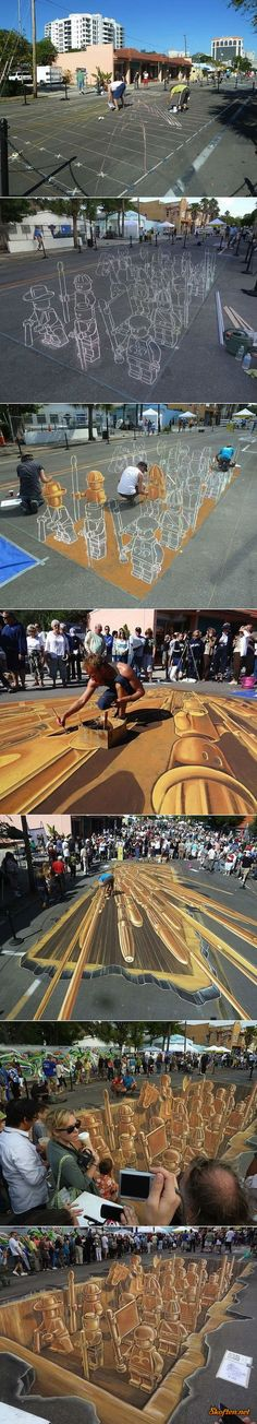 OMG! how neat! be sure to look at all the pics from start to finish of how they did this ..lego sidewalk drawing.