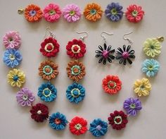 Flower Looms: Jewellery - earrings, bracelet, necklace and rings